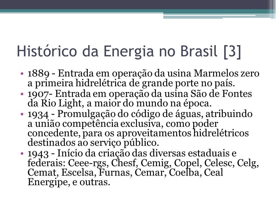 1889 - Entrada em operação da usina Marmelos zero a primeira hidrelétrica de grande porte no país. 1907- Entrada em operação da usina São de Fontes da