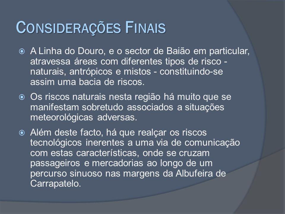 C ONSIDERAÇÕES F INAIS A Linha do Douro, e o sector de Baião em particular, atravessa áreas com diferentes tipos de risco - naturais, antrópicos e mis
