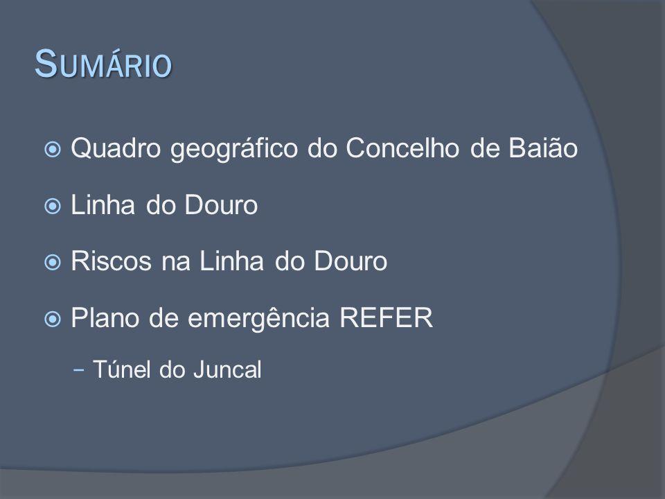S UMÁRIO Quadro geográfico do Concelho de Baião Linha do Douro Riscos na Linha do Douro Plano de emergência REFER Túnel do Juncal