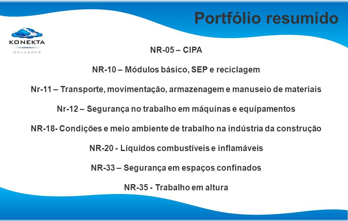 Portfólio resumido NR-05 – CIPA NR-10 – Módulos básico, SEP e reciclagem Nr-11 – Transporte, movimentação, armazenagem e manuseio de materiais Nr-12 –
