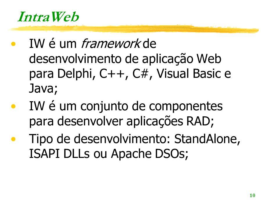10 IntraWeb IW é um framework de desenvolvimento de aplicação Web para Delphi, C++, C#, Visual Basic e Java; IW é um conjunto de componentes para desenvolver aplicações RAD; Tipo de desenvolvimento: StandAlone, ISAPI DLLs ou Apache DSOs;