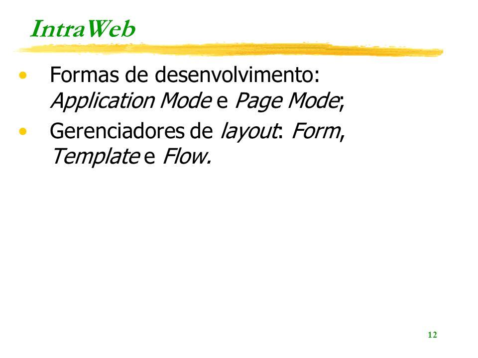 12 IntraWeb Formas de desenvolvimento: Application Mode e Page Mode; Gerenciadores de layout: Form, Template e Flow.