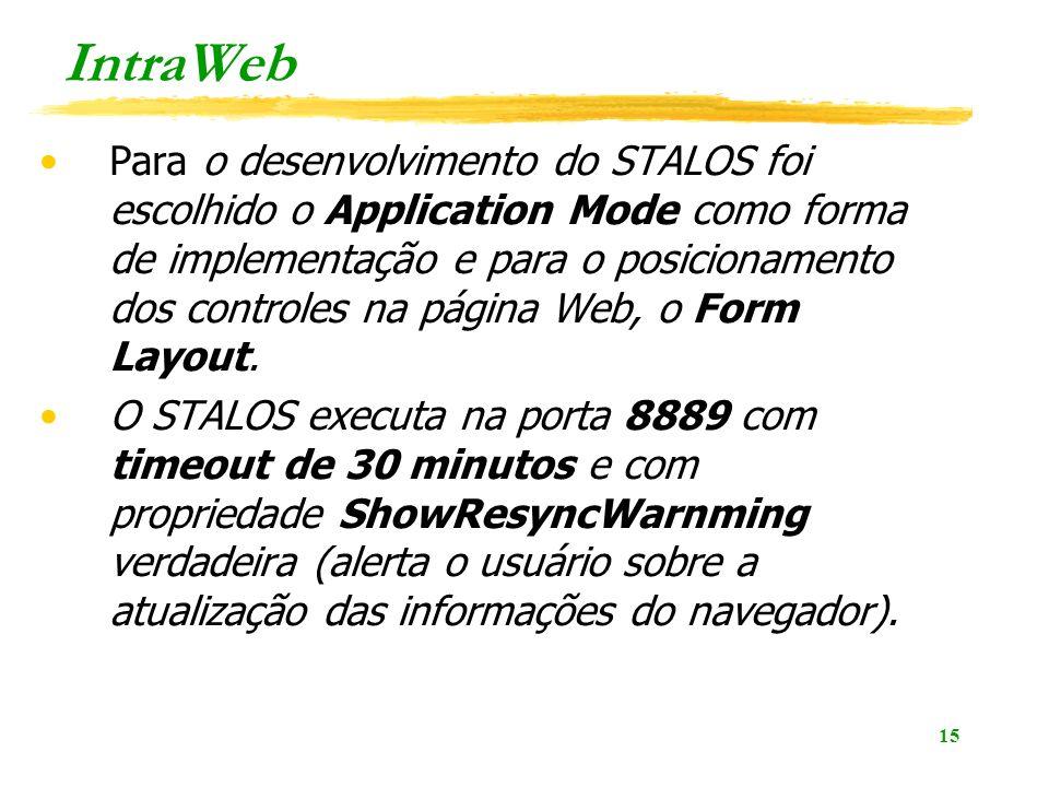 15 IntraWeb Para o desenvolvimento do STALOS foi escolhido o Application Mode como forma de implementação e para o posicionamento dos controles na página Web, o Form Layout.