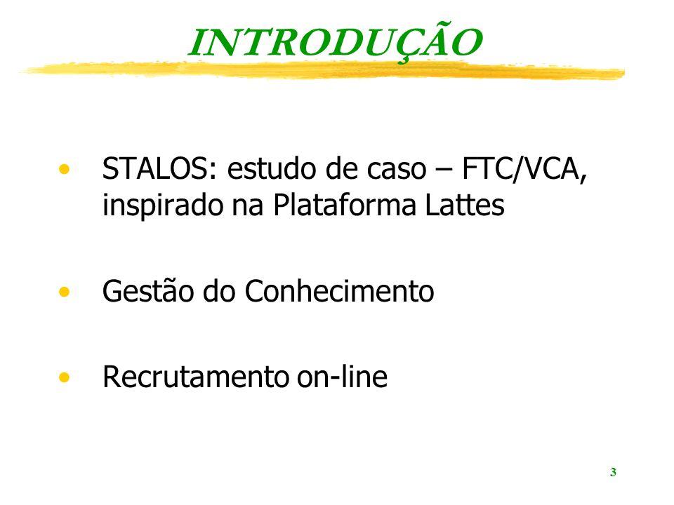 3 INTRODUÇÃO STALOS: estudo de caso – FTC/VCA, inspirado na Plataforma Lattes Gestão do Conhecimento Recrutamento on-line