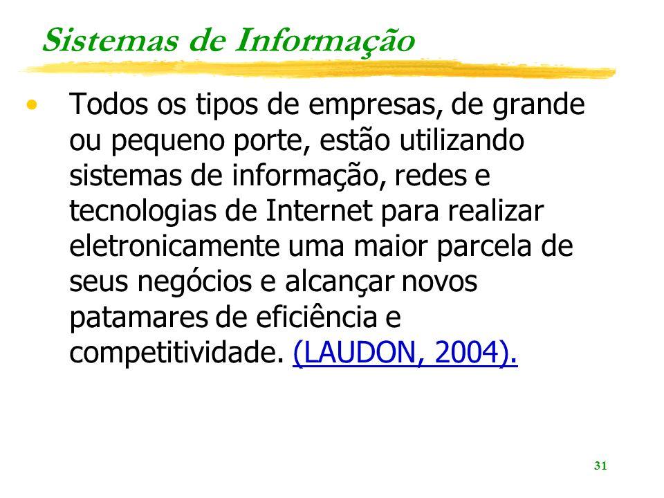31 Sistemas de Informação Todos os tipos de empresas, de grande ou pequeno porte, estão utilizando sistemas de informação, redes e tecnologias de Inte