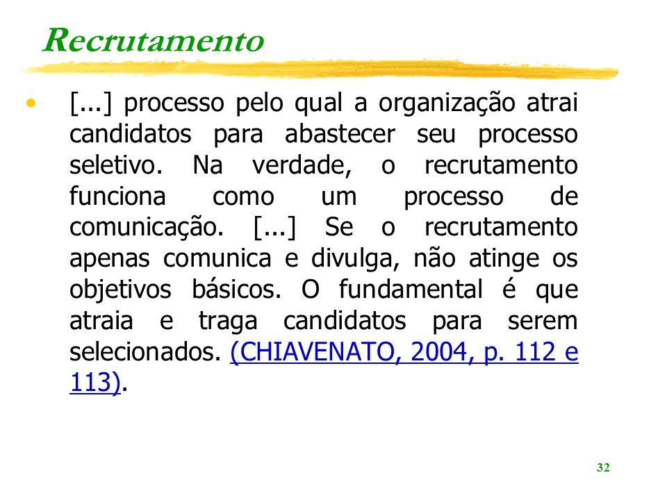 32 Recrutamento [...] processo pelo qual a organização atrai candidatos para abastecer seu processo seletivo. Na verdade, o recrutamento funciona como