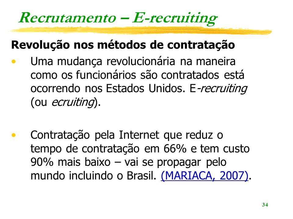 34 Recrutamento – E-recruiting Revolução nos métodos de contratação Uma mudança revolucionária na maneira como os funcionários são contratados está oc