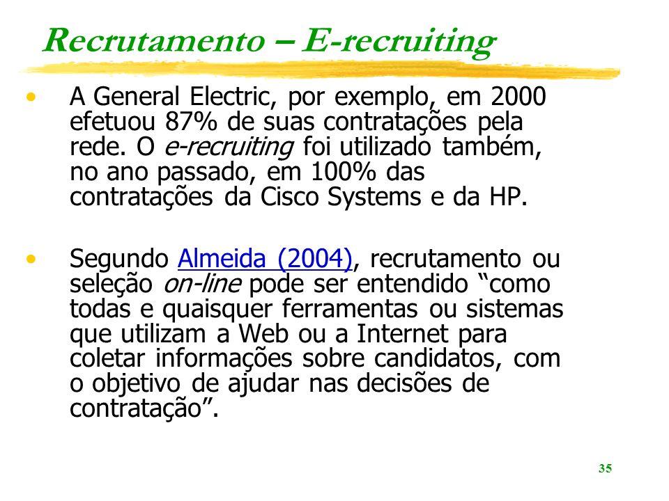 35 Recrutamento – E-recruiting A General Electric, por exemplo, em 2000 efetuou 87% de suas contratações pela rede. O e-recruiting foi utilizado també
