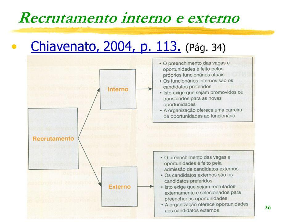 36 Recrutamento interno e externo Chiavenato, 2004, p. 113. (Pág. 34)Chiavenato, 2004, p. 113.