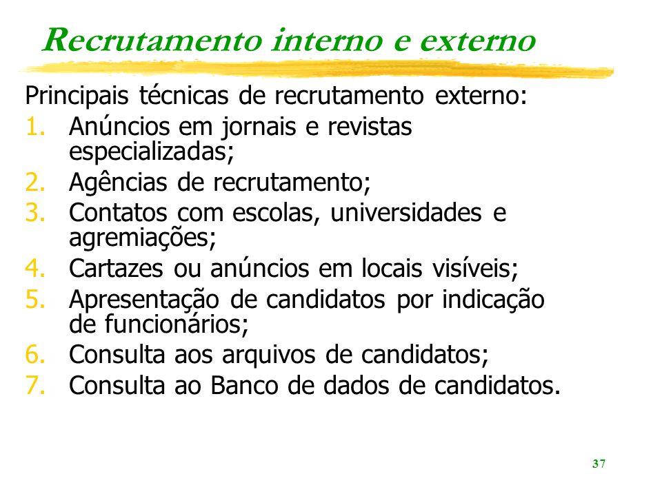 37 Recrutamento interno e externo Principais técnicas de recrutamento externo: 1.Anúncios em jornais e revistas especializadas; 2.Agências de recrutam