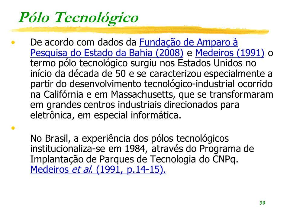 39 Pólo Tecnológico De acordo com dados da Fundação de Amparo à Pesquisa do Estado da Bahia (2008) e Medeiros (1991) o termo pólo tecnológico surgiu nos Estados Unidos no início da década de 50 e se caracterizou especialmente a partir do desenvolvimento tecnológico-industrial ocorrido na Califórnia e em Massachusetts, que se transformaram em grandes centros industriais direcionados para eletrônica, em especial informática.Fundação de Amparo à Pesquisa do Estado da Bahia (2008)Medeiros (1991) No Brasil, a experiência dos pólos tecnológicos institucionaliza-se em 1984, através do Programa de Implantação de Parques de Tecnologia do CNPq.