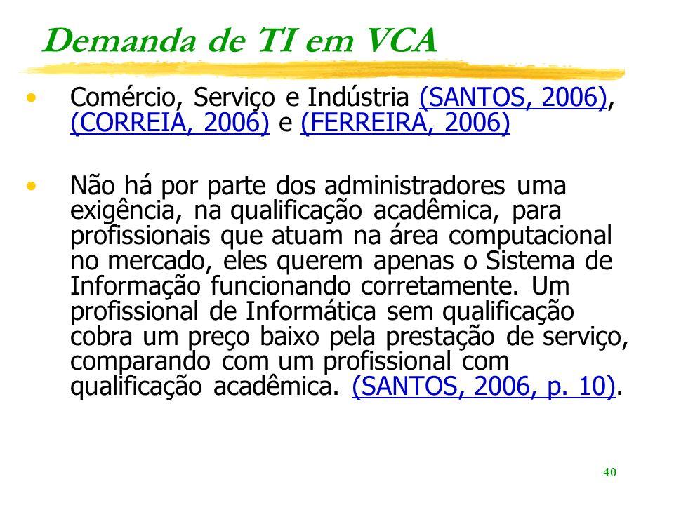 40 Demanda de TI em VCA Comércio, Serviço e Indústria (SANTOS, 2006), (CORREIA, 2006) e (FERREIRA, 2006)(SANTOS, 2006) (CORREIA, 2006)(FERREIRA, 2006) Não há por parte dos administradores uma exigência, na qualificação acadêmica, para profissionais que atuam na área computacional no mercado, eles querem apenas o Sistema de Informação funcionando corretamente.