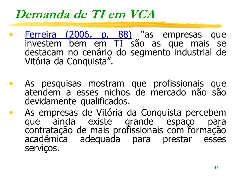 44 Demanda de TI em VCA Ferreira (2006, p. 88) as empresas que investem bem em TI são as que mais se destacam no cenário do segmento industrial de Vit