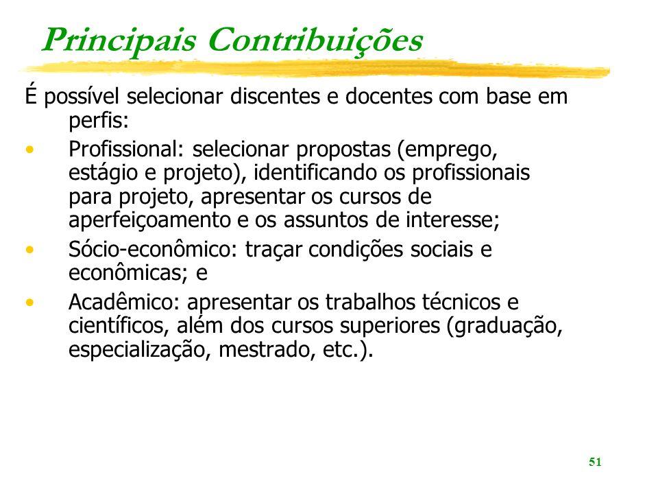 51 Principais Contribuições É possível selecionar discentes e docentes com base em perfis: Profissional: selecionar propostas (emprego, estágio e proj