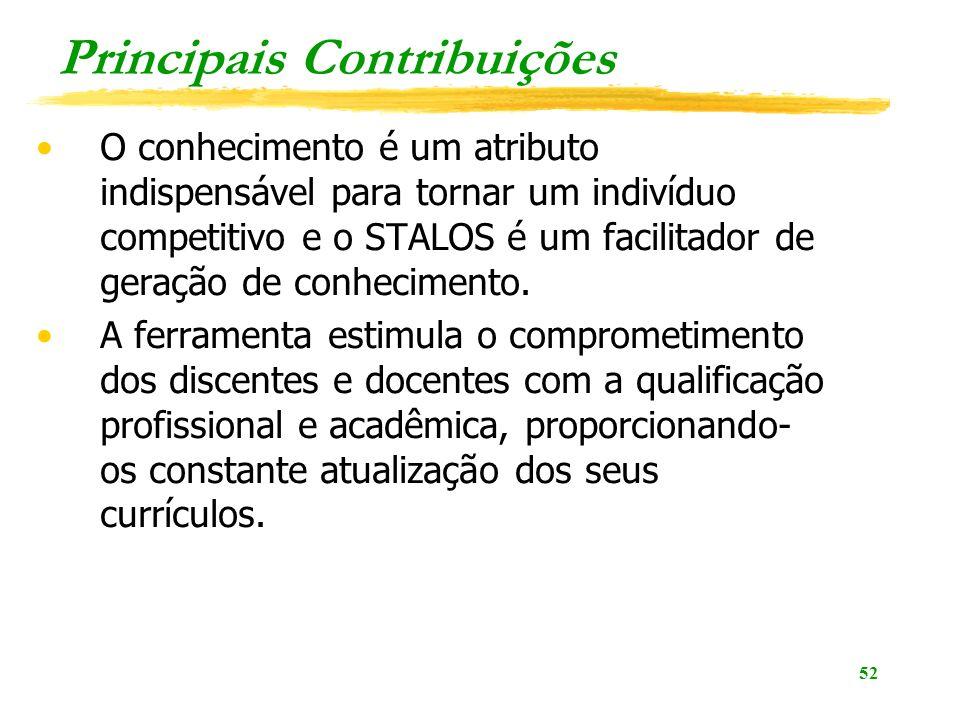 52 Principais Contribuições O conhecimento é um atributo indispensável para tornar um indivíduo competitivo e o STALOS é um facilitador de geração de conhecimento.