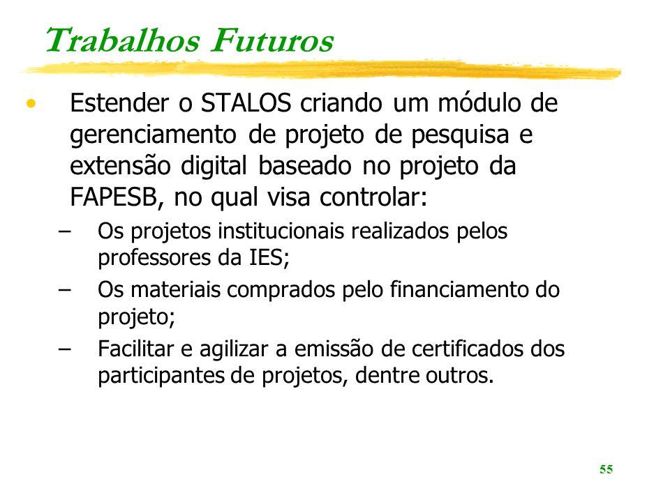 55 Trabalhos Futuros Estender o STALOS criando um módulo de gerenciamento de projeto de pesquisa e extensão digital baseado no projeto da FAPESB, no q
