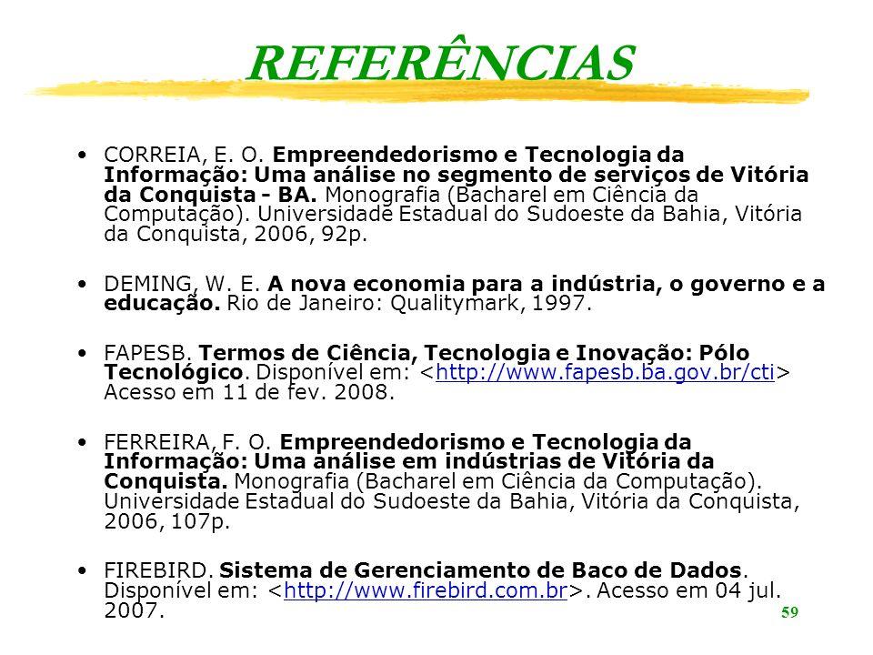 59 REFERÊNCIAS CORREIA, E. O. Empreendedorismo e Tecnologia da Informação: Uma análise no segmento de serviços de Vitória da Conquista - BA. Monografi