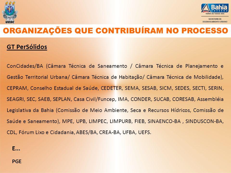 GT PerSólidos ConCidades/BA (Câmara Técnica de Saneamento / Câmara Técnica de Planejamento e Gestão Territorial Urbana/ Câmara Técnica de Habitação/ C