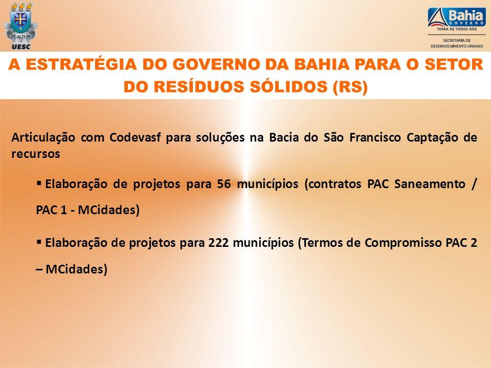Articulação com Codevasf para soluções na Bacia do São Francisco Captação de recursos Elaboração de projetos para 56 municípios (contratos PAC Saneame
