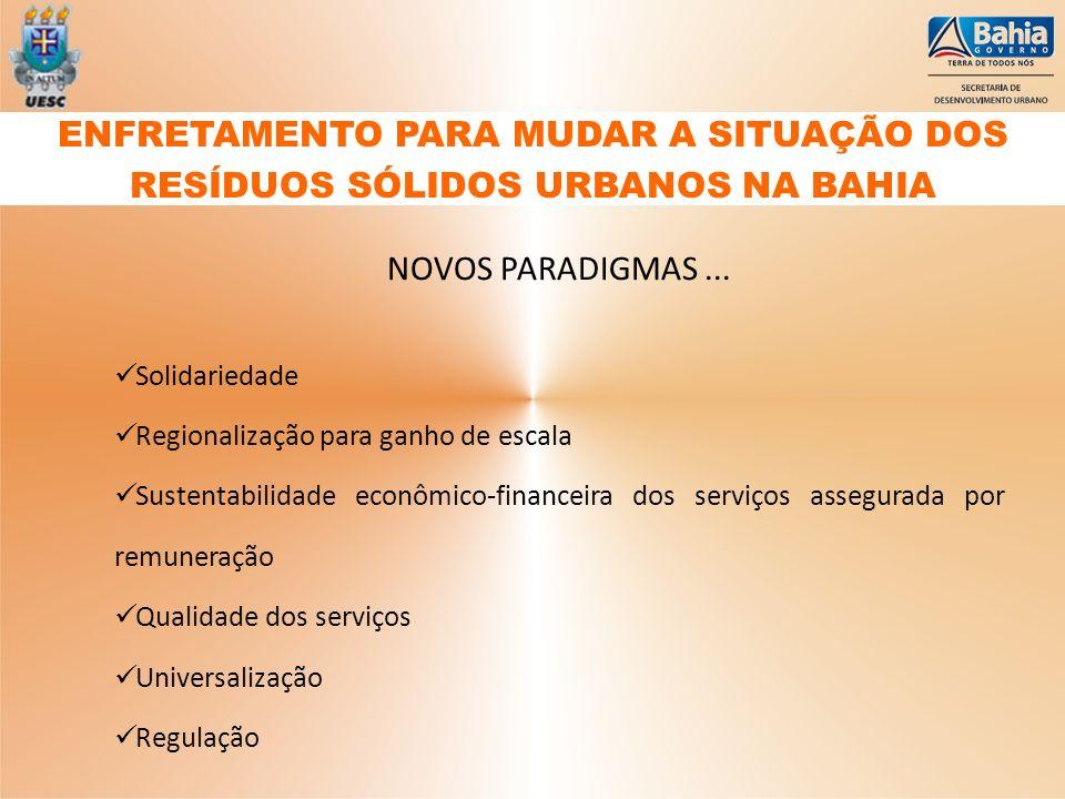 NOVOS PARADIGMAS... Solidariedade Regionalização para ganho de escala Sustentabilidade econômico-financeira dos serviços assegurada por remuneração Qu