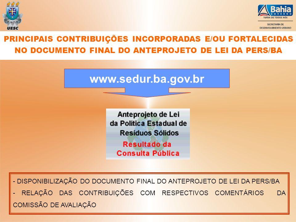 - DISPONIBILIZAÇÃO DO DOCUMENTO FINAL DO ANTEPROJETO DE LEI DA PERS/BA - RELAÇÃO DAS CONTRIBUIÇÕES COM RESPECTIVOS COMENTÁRIOS DA COMISSÃO DE AVALIAÇÃ