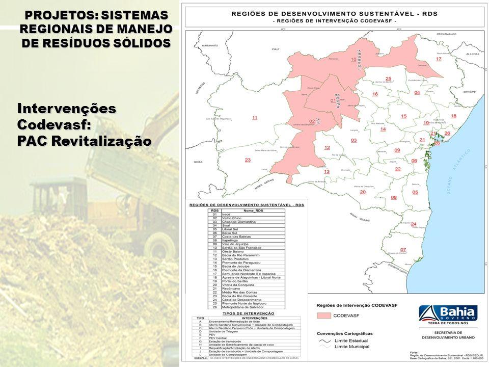 Intervenções Codevasf: PAC Revitalização PROJETOS: SISTEMAS REGIONAIS DE MANEJO DE RESÍDUOS SÓLIDOS
