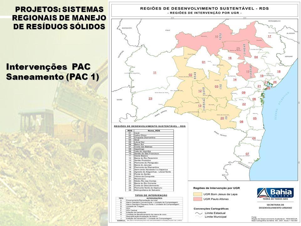 Intervenções PAC Saneamento (PAC 1) PROJETOS: SISTEMAS REGIONAIS DE MANEJO DE RESÍDUOS SÓLIDOS