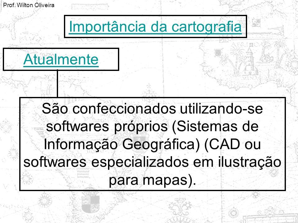 Importância da cartografia Atualmente São confeccionados utilizando-se softwares próprios (Sistemas de Informação Geográfica) (CAD ou softwares especi