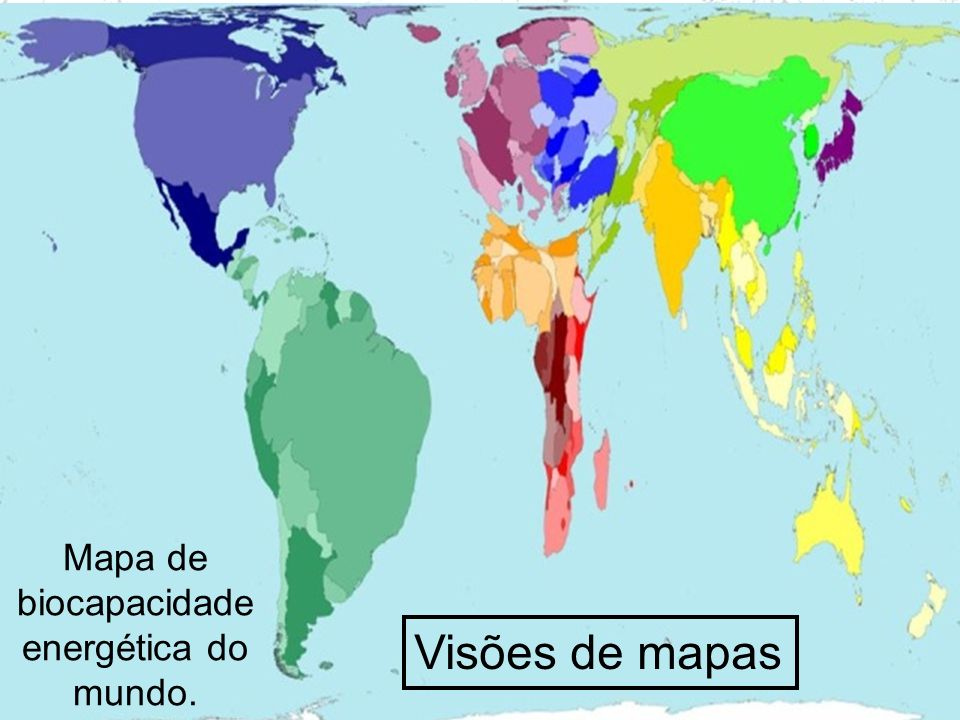 Prof. Wilton Oliveira Visões de mapas Mapa de biocapacidade energética do mundo.