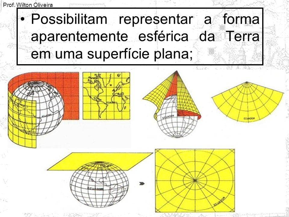 Prof. Wilton Oliveira Possibilitam representar a forma aparentemente esférica da Terra em uma superfície plana;