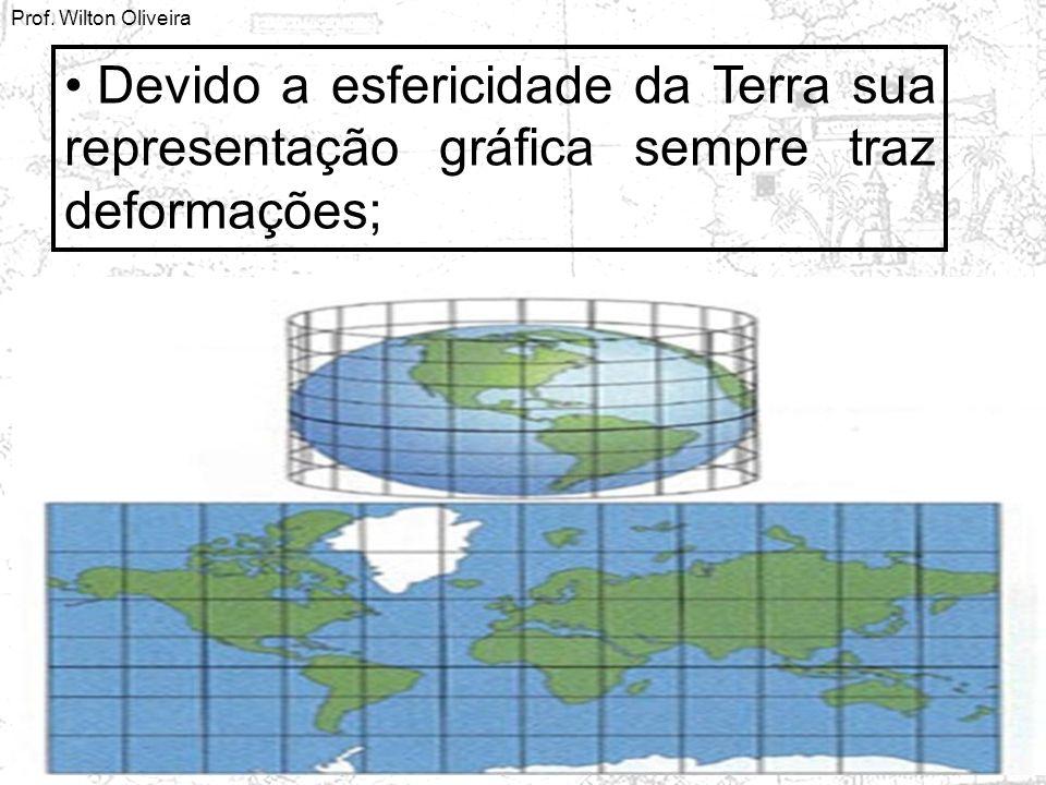 Prof. Wilton Oliveira Devido a esfericidade da Terra sua representação gráfica sempre traz deformações;