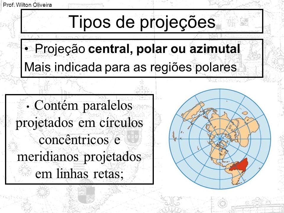 Prof. Wilton Oliveira Tipos de projeções Projeção central, polar ou azimutal Mais indicada para as regiões polares Contém paralelos projetados em círc