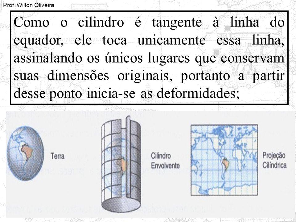 Prof. Wilton Oliveira Como o cilindro é tangente à linha do equador, ele toca unicamente essa linha, assinalando os únicos lugares que conservam suas