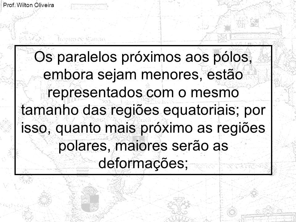 Prof. Wilton Oliveira Os paralelos próximos aos pólos, embora sejam menores, estão representados com o mesmo tamanho das regiões equatoriais; por isso