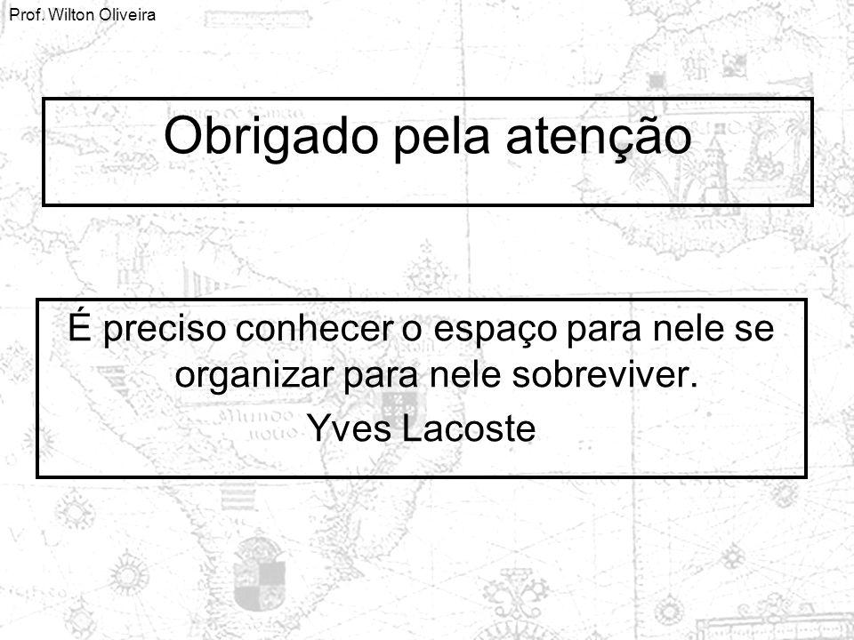 Obrigado pela atenção É preciso conhecer o espaço para nele se organizar para nele sobreviver. Yves Lacoste