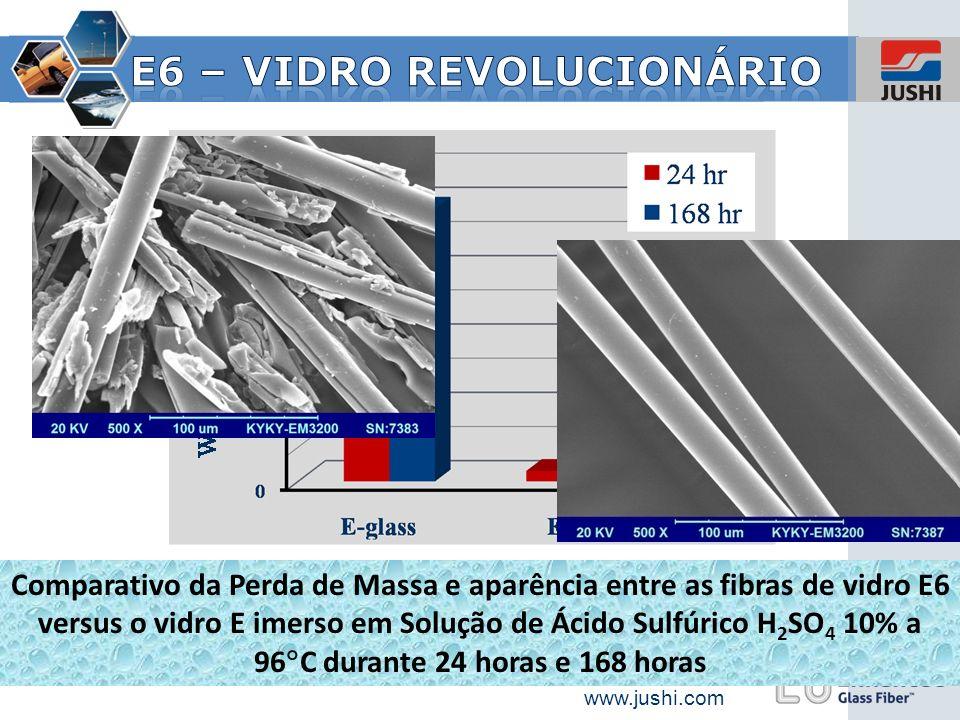 www.jushi.com Comparativo da Perda de Massa e aparência entre as fibras de vidro E6 versus o vidro E imerso em Solução de Ácido Sulfúrico H 2 SO 4 10%