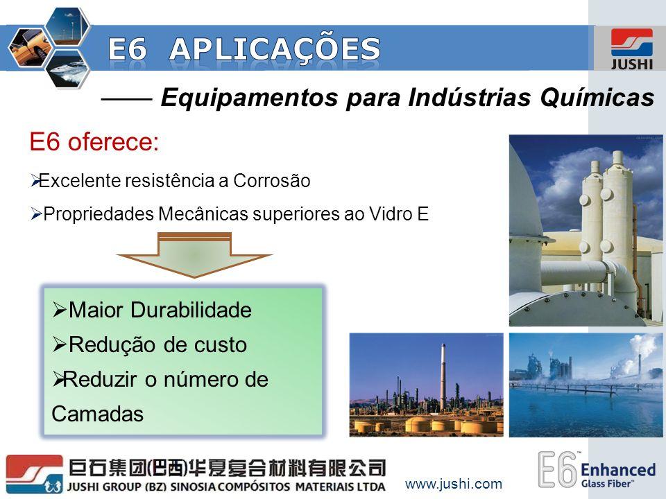 Equipamentos para Indústrias Químicas E6 oferece: Excelente resistência a Corrosão Propriedades Mecânicas superiores ao Vidro E Maior Durabilidade Red