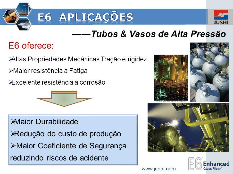 Tubos & Vasos de Alta Pressão Maior Durabilidade Redução do custo de produção Maior Coeficiente de Segurança reduzindo riscos de acidente E6 oferece: