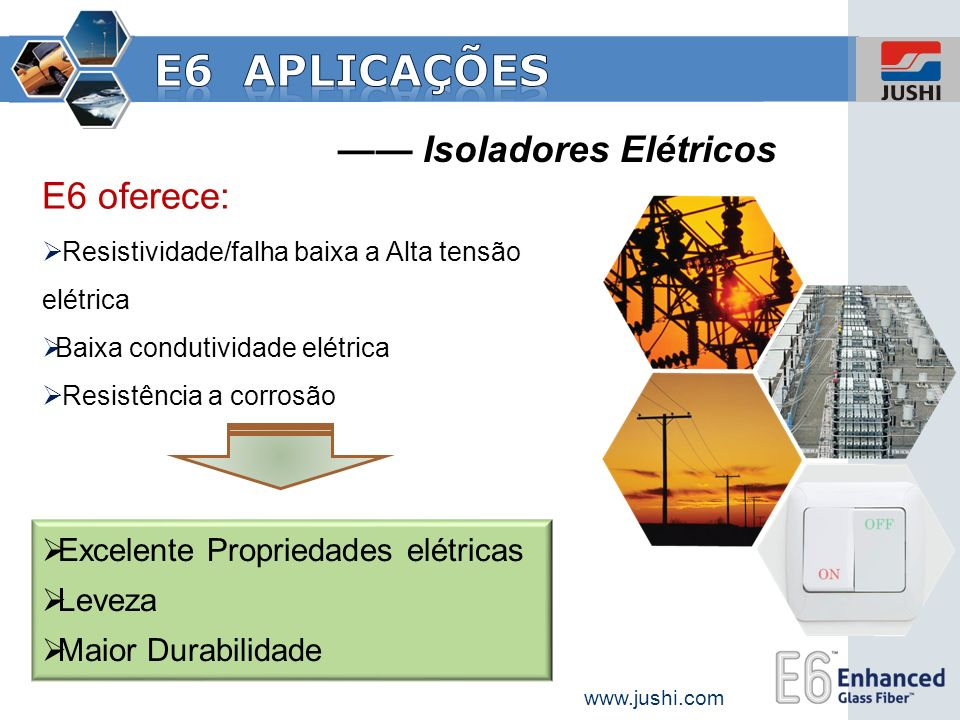 Isoladores Elétricos E6 oferece: Resistividade/falha baixa a Alta tensão elétrica Baixa condutividade elétrica Resistência a corrosão Excelente Propri