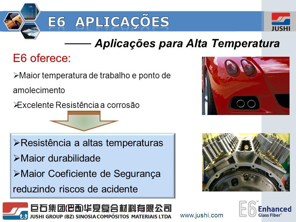 Aplicações para Alta Temperatura E6 oferece: Maior temperatura de trabalho e ponto de amolecimento Excelente Resistência a corrosão Resistência a alta