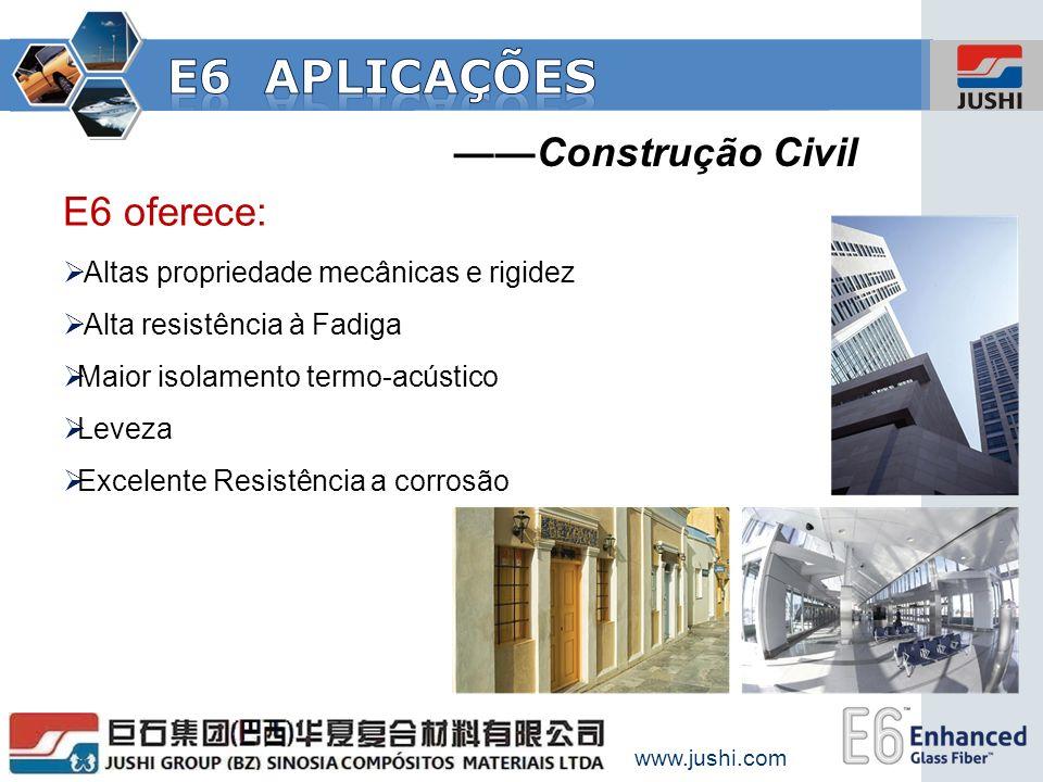 Construção Civil E6 oferece: Altas propriedade mecânicas e rigidez Alta resistência à Fadiga Maior isolamento termo-acústico Leveza Excelente Resistên