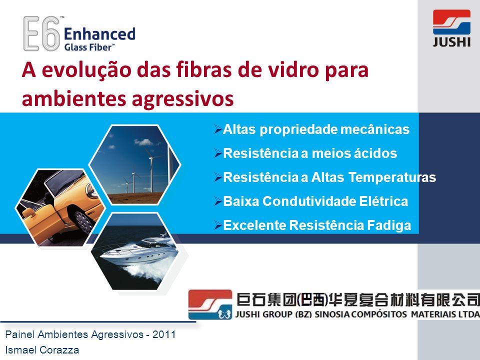 A evolução das fibras de vidro para ambientes agressivos Painel Ambientes Agressivos - 2011 Ismael Corazza Altas propriedade mecânicas Resistência a m