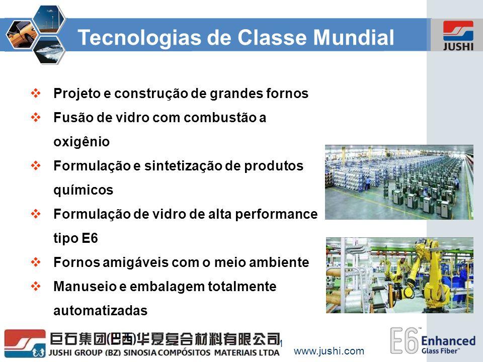 www.jushi.com WWW.JUSHI.COM Tecnologias de Classe Mundial Projeto e construção de grandes fornos Fusão de vidro com combustão a oxigênio Formulação e