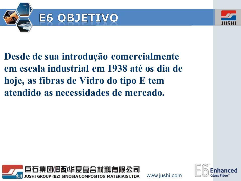 www.jushi.com INOVAÇÃO Desde de sua introdução comercialmente em escala industrial em 1938 até os dia de hoje, as fibras de Vidro do tipo E tem atendi