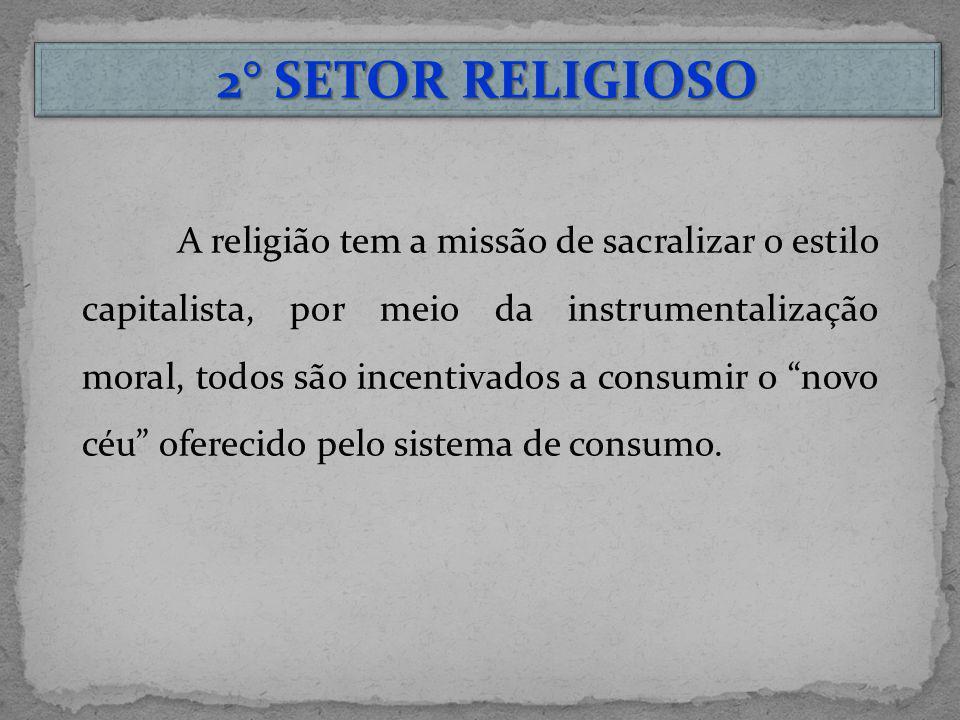 2° SETOR RELIGIOSO A religião tem a missão de sacralizar o estilo capitalista, por meio da instrumentalização moral, todos são incentivados a consumir