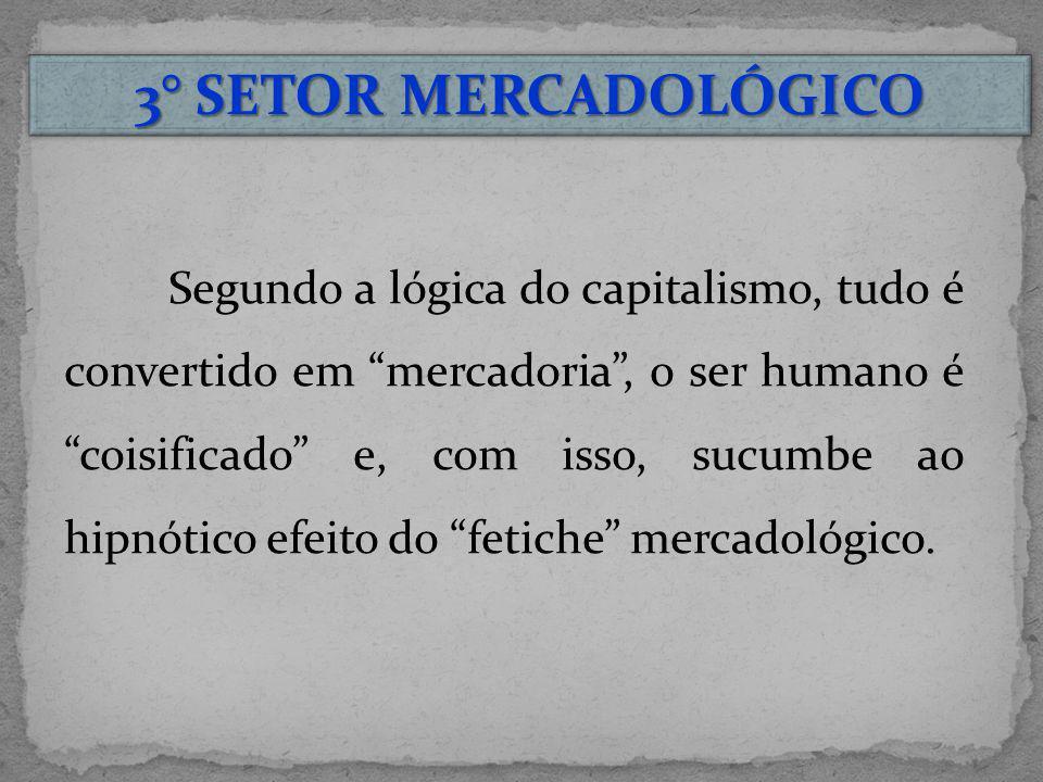 3° SETOR MERCADOLÓGICO Segundo a lógica do capitalismo, tudo é convertido em mercadoria, o ser humano é coisificado e, com isso, sucumbe ao hipnótico