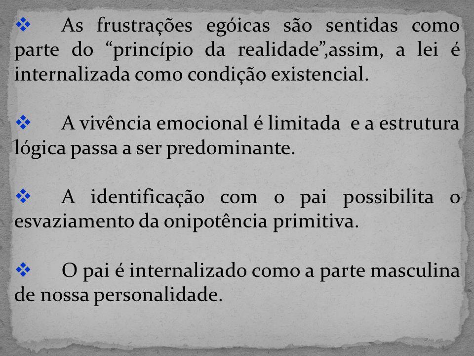 As frustrações egóicas são sentidas como parte do princípio da realidade,assim, a lei é internalizada como condição existencial. A vivência emocional