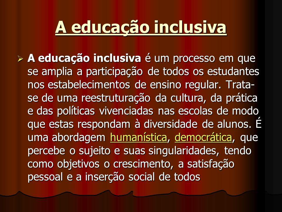 A educação inclusiva A educação inclusiva é um processo em que se amplia a participação de todos os estudantes nos estabelecimentos de ensino regular.