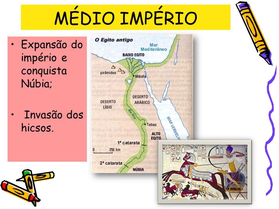 MÉDIO IMPÉRIO Expansão do império e conquista Núbia; Invasão dos hicsos.