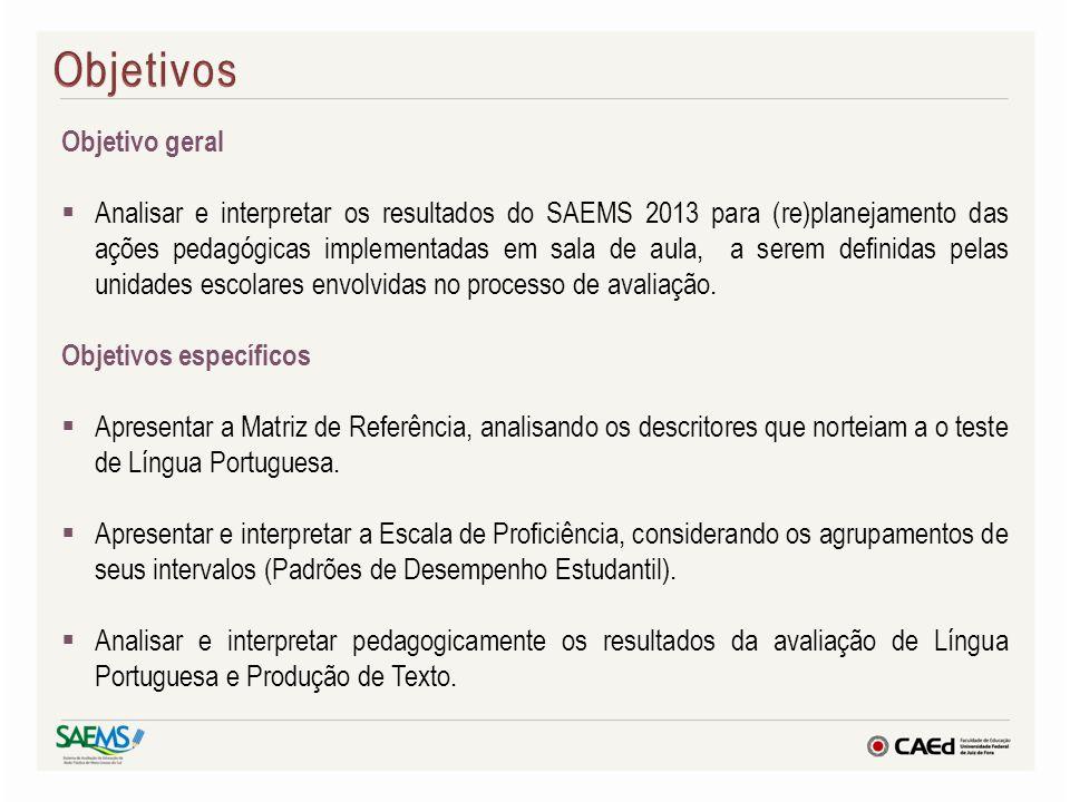 Objetivo geral Analisar e interpretar os resultados do SAEMS 2013 para (re)planejamento das ações pedagógicas implementadas em sala de aula, a serem d